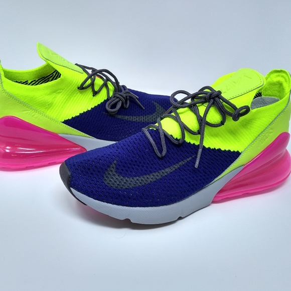new style 0c599 f86a4 Nike Airmax 270 Flyknit Blue Pink Green Sneakers